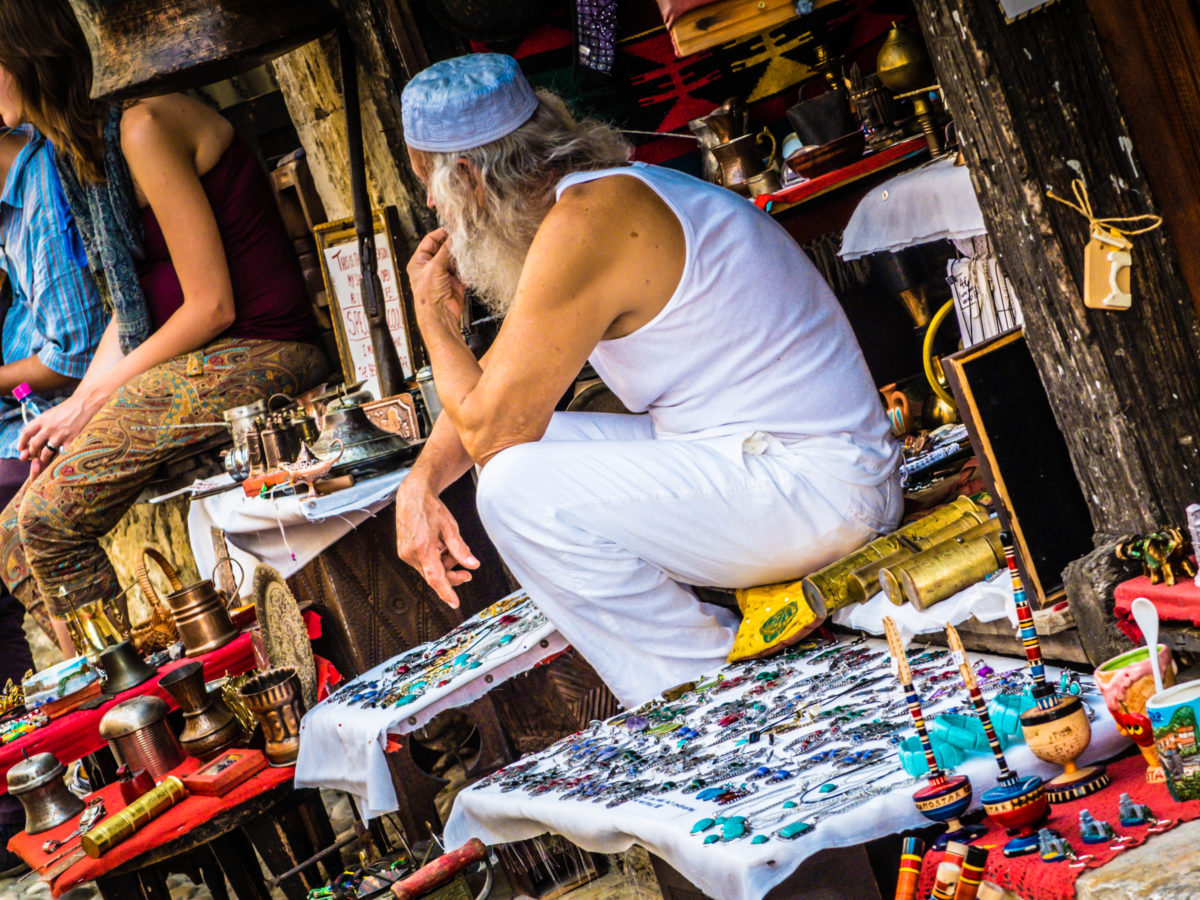 A man tends his market stall in Mostar