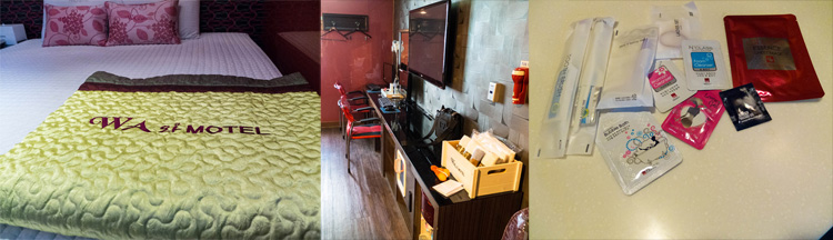Big bed, PCs and tvs plus a full amenity kit are common at Korean love motels