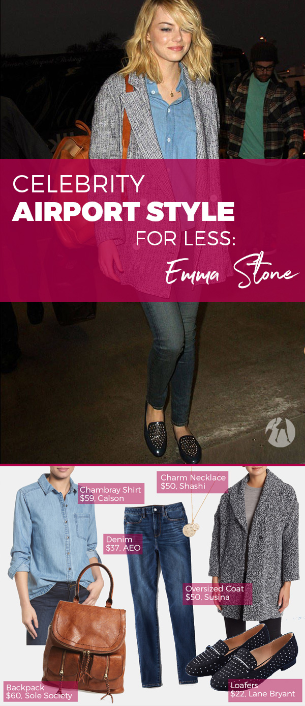 Emma Stone's classic chambray shirt, oversized jacket, and loafers have an easy, borrowed-from-the-boys charm which is pulled together but comfortable.